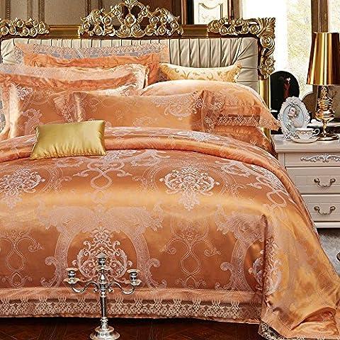 wangzhe Diseño Jacquard contemporáneo de lujo y ricos en cálidos tonos elegantes Sara consolador Set, elegante y contemporáneo de cama, Set de 4 piezas, varios colores, glod