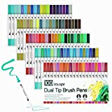 Best Brush Tip Markers - 100 Colour Brush Pens with Fineliner Tip, Dual Review