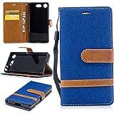 Sony [Xperia XZ1 Compact] Hülle Leder, Lomogo Schutzhülle Brieftasche mit Kartenfach Klappbar Magnetverschluss Stoßfest Kratzfest Handyhülle Case für Sony Xperia XZ1 Compact (4,6 Zoll) - BIFE23294 Saphir