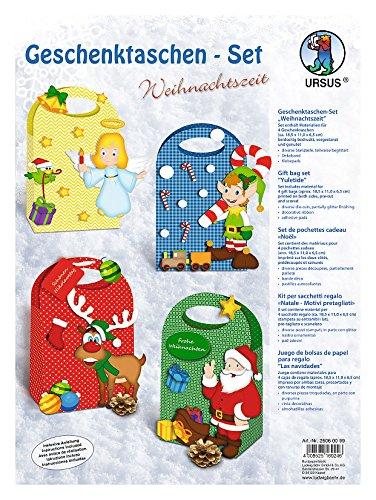 Ursus 28060099 - Geschenktaschen Set Weihnachtszeit, 4 verschiedene Motive, bunt Preisvergleich