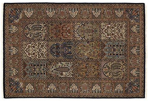 KIAN GHOM echter klassischer Orient Felderteppich handgeknüpft in blau-blau, Größe: 120x180 cm -