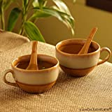 ExclusiveLane Soup Bowls With Spoons Dual Glazed Studio Pottery In Ceramic (Set Of 2) - Soup Bowls Set Of 2 Ceramic Soup Dish Snack Desert Bowls Set Dinner Serving Bowls Soup Cup Bowls Kitchen Storage Tableware
