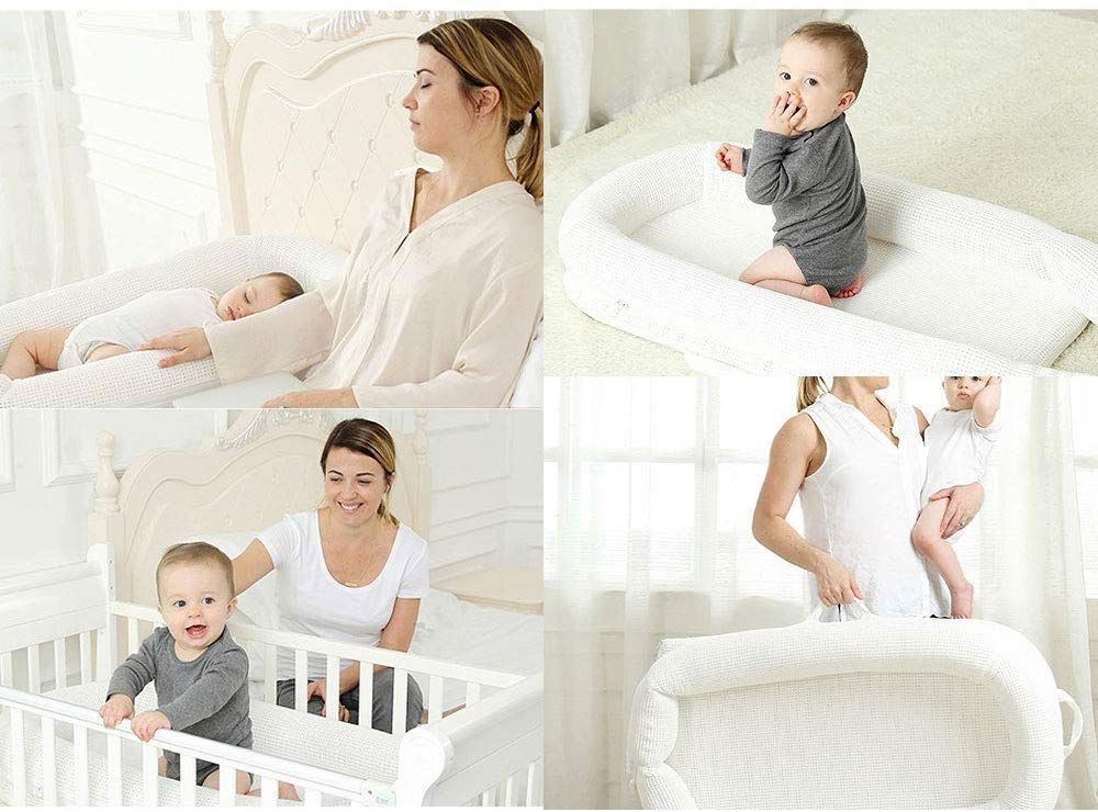 RMXMY Crib Portable Bed Bed Bionic Bed Baby Bed Bed Newborn Baby Bed Multi-function Sleepy Anti-pressure Travel Bed RMXMY ★Baby bed is suitable for 0-8 months baby ★Baby's sleep artifact, 5° pad height, more breathable, better support the baby's neck ★Can be combined with a large bed to take care of your baby at night and let your baby sleep independently 5