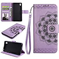 ESSTORE-EU Mandala PU Leather Stand Function Protective Cases Covers with Card Slot Holder Wallet Book Design Fordable Strap Case