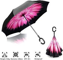Shoppoworld Unisex Polyester Multicolour Inverted Double Layer Reversible Folding Large Car Umbrella