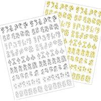 216 Piezas Pegatinas de Arte de Uñas 3D Flores Adornos de Etiquetas Adhesivas de Uñas para Decoraciones de Puntas de Uñas, 2 Hojas (Plateado y Dorado)