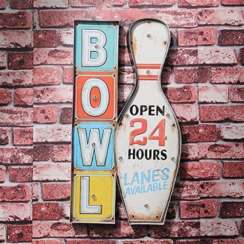 LIGUANGWEN LED Europäischen Retro Stil Bowling Form Wandleuchte Wand Zinn Malerei Anzeige Wandleuchte Persönlichkeit Cafe Bar Flur Wandleuchte for Wohnzimmer Schlafzimmer Flur Wandlampe -