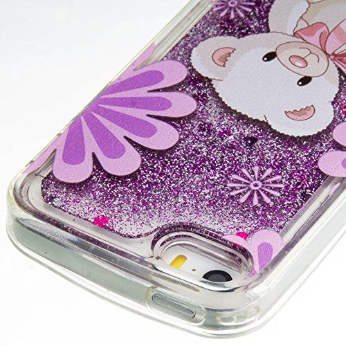 Für iPhone SE/Für iPhone 5/5S Durchsichtige Hülle,Für iPhone SE/Für iPhone 5/5S Crystal Clear Flüssig Hülle Schutz Handy Case Hülle,Funyye Nette Kreative Komisch 3D Flüssigkeit Schutzhülle Bunten Must Niedlichen Teddy