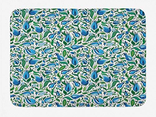 Botanical Bath Mat, Swirled Flower Petals Leaves Curved Flora Retro Blossom Pattern, Plush Bathroom Decor Mat with Non Slip Backing, Forrest Green Violet Blue,20X31 inch