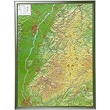 Schwarzwald 1:200.000 mit Rahmen: Reliefkarte  Schwarzwald mit grünfarbenen Holzrahmen