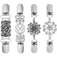 TENDYCOCO Pullover Clips Vintage Pullover Kette Silber Farbe Strickjacke Clip für Kleid Kleidung 4 stücke