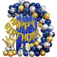MMTX Fiesta cumpleaños Azul Plata y Oro Globos para adultos Hombres Amigos Mujeres,Birthday Bandera Globo Cortina seda lluvia para 18vo 20o 30o 40o 50o 60o 70mo Cumpleaños Decoraciones de Fiesta
