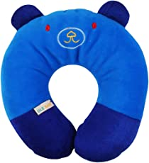 Ole Baby Cat Face Soft & Plush Neck Support Pillow for Children (Blue_0-12 Months)