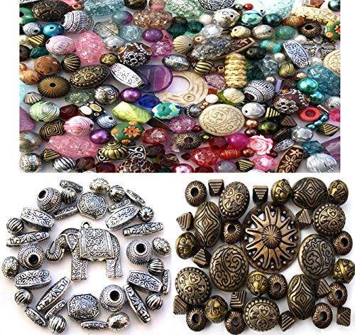 Preisvergleich Produktbild 100g zufällig ausgewählten gemischten Acrylschmuckherstellung Perlen & x70 Silver & Bronze Acrylic Beads Tibetan
