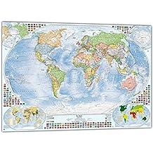 Politische Weltkarte mit 4 Nebenkarten, 100x70 cm, deutsch, Aktuell: Stand 2016