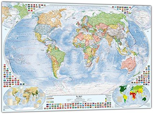 Politische Weltkarte mit 4 Nebenkarten, 100x70 cm, deutsch, Stand 2016 (Der Welt-karte Zeitzonen)