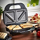 from VonShef VonShef 2 in 1 Deep Filled Sandwich and Waffle Maker with Removable Plates - 800W - Stainless Steel