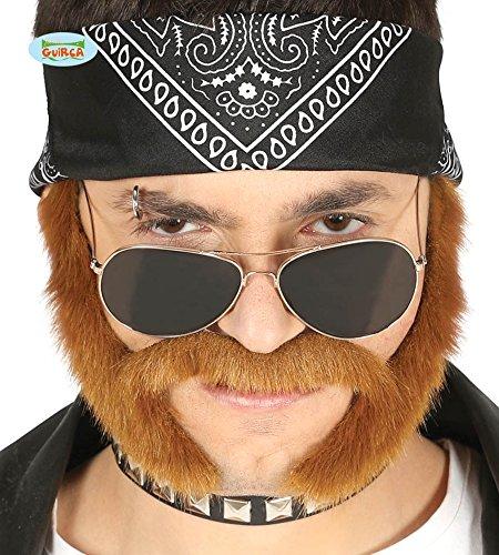 Braun Kostüm Und Schnurrbart Bart - shoperama Selbstklebender Backenbart Braun für Biker und Rocker Kostüm Schnurrbart mit Koteletten Bart Schnäuzer