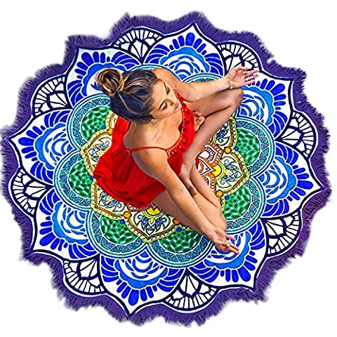 Vandot Indian Mandala Printing Pattern Tassels Roundie Beach Mat Towel Circular Hippy Boho Gypsy Tablecloth Blanket Tapestry Decorative Wall Hanging Meditation Yoga Mat Interior Decoration-Diameter