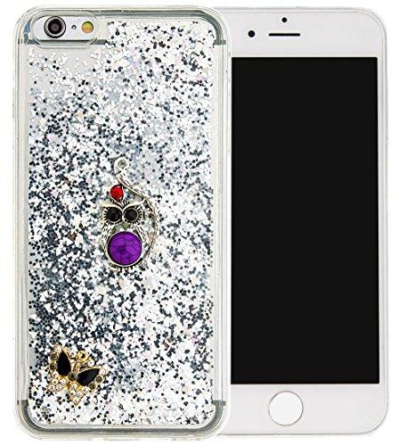 Nnopbeclik Silikon Hülle Transparent Für Apple Iphone 6 Plus / 6S Plus, Durchsichtig Ultra Slim TPU 3D Fließende Flüssigkeit Shiny Weich Schutzhülle Tasche Bunt Muster mit Diamant Applikationen [DIY M #9