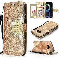 Yobby Glitzer Strass Leder Brieftasche Hülle für Samsung Galaxy S8, Mode Gold Handyhülle mit Spiegel Flip Magnetisch Stand Schutzhülle mit Karte Schlüssel und Handschlaufe