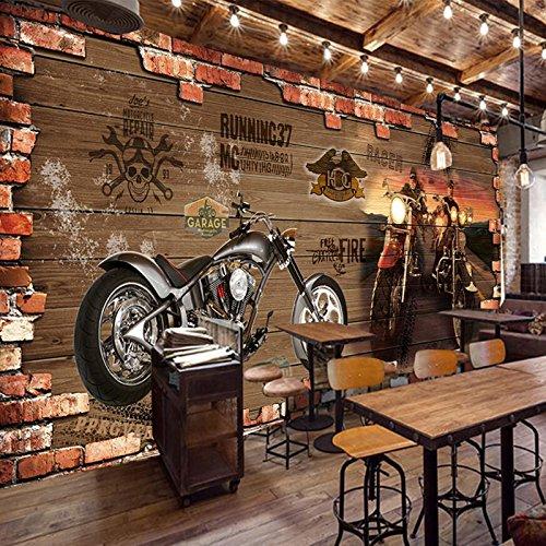 (Tantoto 3D WallStickers&Murals Wallpaper Retro Tapeten Western Restaurant 3D Bar Hintergrundbild Auto Thema Brick Wall Murals Kreative Persönlichkeit.)