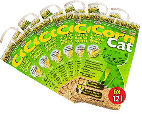 6x12 =72 Liter CORNCAT NATURSTREU ÖKO-PLUS GREEN CAT`S KATZENSTREU - BEST STREU GREENCAT - kostenloser Versand innerhalb Deutschlands (außer Inseln)