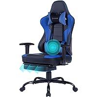 Gaming Stuhl Bürostuhl Ergonomischer mit Massage Lendenwirbelstütze- Hohe Rückenlehne Verstellbarer Schreibtischstuhl…