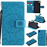 For Sony Xperia M4/M4 Aqua Case [Blue],Cozy Hut [Wallet Case] Magnetic Flip Book Style Cover Case ,High Quality Classic New design Sunflower Pattern Design Premium PU Leather Folding Wallet Case With [Lanyard Strap] and [Credit Card Slots] Stand Function Folio Protective Holder Perfect Fit For Sony Xperia M4/M4 Aqua 5,0 inch - blue