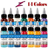 14 Stück Tattoo Tintenset Microblading Permanent Make-up Kunst Pigment 30ml Tattoo Farbe für Augenbraue Eyeliner Lippenkörper insgesamt 14 Farben