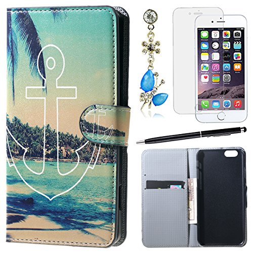 "HB-Int 4in1 PU Lederhülle Stand Funktion Book Style Case für iPhone 6 / 6s (4.7"") Hülle Flip Wallet Cover Zebra Standfunktion Shell Handytasche Brieftasche Schutzhülle Kartenfächer Magnetverschluss Kn Anchor"