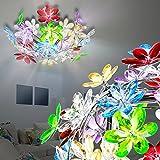 MIA Light Deckenleuchte Blätterdekor aus Acryl bunt in chrom