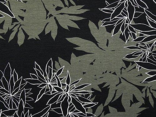 Floral Print Stretch Jersey Knit Kleid Stoff schwarz & grün–Meterware (Print-stretch-jersey)