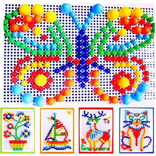 Itian 296Pcs Pilz Nägel Spiel Kreatives Puzzle Mosaic Pegboard Pädagogisches Spielzeug für Kinder (zufällige Farben) -