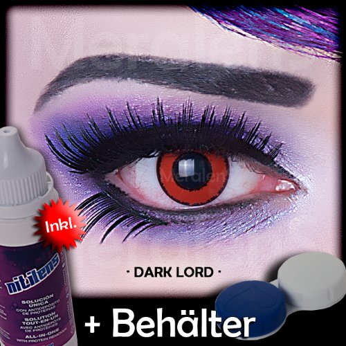 Farbige rote schwarze crazy Kontaktlinsen crazy contact lenses Voldemort rot mit schwarzem Rand 1 Paar perfekt zu Fasching und Halloween inkl. 60ml Kombilösung und Kontaktlinsenbehälter