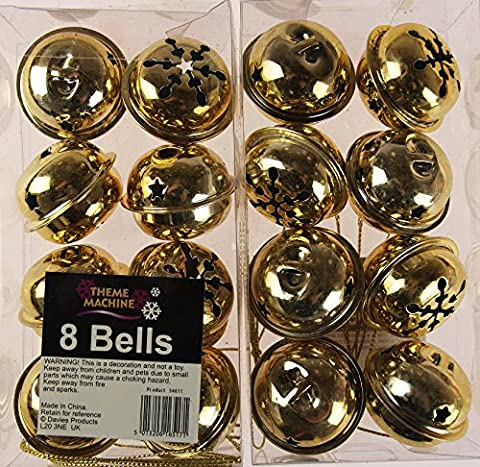 16 GOLD Christmas Tree Small Jingle Bells Baubles Decorations