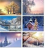 18 Winterlandschafts-Postkarten (6 Motive mit jeweils 3 Karten), Weihnachtskarten, Winter, Schnee, Berge, Weihnachtsgruss