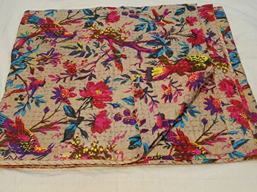 Tribal Asian Textiles Hand Made Bird Print King Size Kantha Quilt , Kantha Blanket, Bed Cover, King Kantha bedspread, Bohemian Bedding Kantha Size 90 Inch x 108 Inch by Tribal Asian Textiles