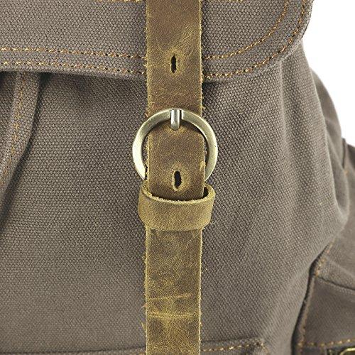 Canvas Herren Schulrucksack Schultertasche Backpack Wandern Sport Rucksack 4 Farbe Graubraun