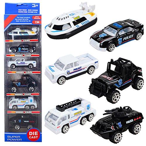 Car Model Mini Coches de policía de Juguete de Metal Niños Set de Car Niña 3 4 5 Años (6 PCS)