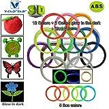 Victorstar  3D-Stift Filament Minen 20 Farben 656 Lineare Fuß (200 Meter) / ABS 1.75mm 12 allgemeine Farben + 2 Glühen im Dunklen + 1 Holzfarbe + 5 Fluoreszierend / 32,8 Fuß (10 Meter) Jede Farbe