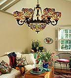 makenier Vintage Tiffany Stil cyan und rot gebeizt Glas Libelle Lampenschirme 6Arme Kronleuchter mit 30,5cm seitenverkehrt Deckenleuchte Hängelampe