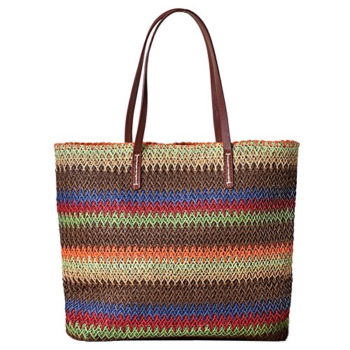 Butterme delle donne Beach Tote Bag Classic paglia di estate Tracolla borsa di acquisto del Hobo Handbag Marrone