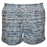 Shorts De Bain Just Cavalli Allover Logo Impression Hommes, Blanc/denim