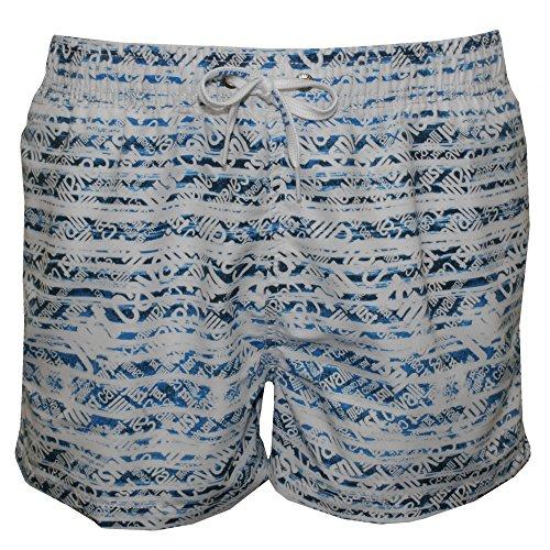 Shorts De Bain Just Cavalli Allover Logo Impression Hommes, Blanc/denim Blanc/denim