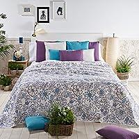 Sancarlos - Colcha piqué algodón naston azul azul - esquinas redondeadas - piqué estampado - lavado fácil y secado rápido