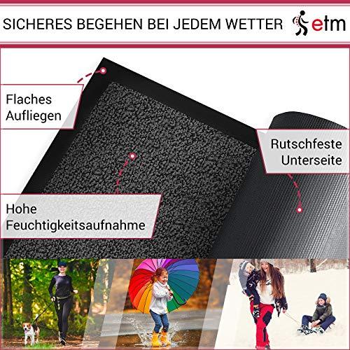 etm® Schmutzfangmatte – Note 1,6: Sieger Preis-Leistung – Fußmatte in vielen Größen – Fußabstreifer für Haustür innen und außen (Anthrazit-Schwarz, 60×90 cm) - 4