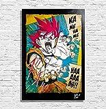 Arthole.it Goku Super Saiyan da Dragon Ball Super (di Akira Toriyama) - Quadro Pop-Art Originale con Cornice, Dipinto, Stampa su Tela, Poster, Locandina, Anime, Manga