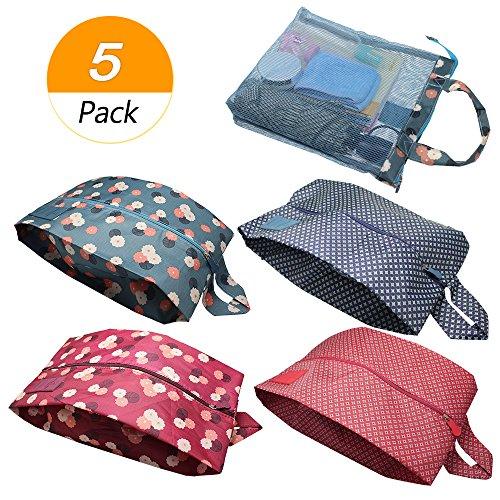 Meetory 5Pack Travel Organizer Tasche Set mit Reißverschluss, 4Reise Schuh Taschen, 1Multifunktions-Make up Aufbewahrungstasche, Tragbar Wasserdicht Oxford für Damen und Herren