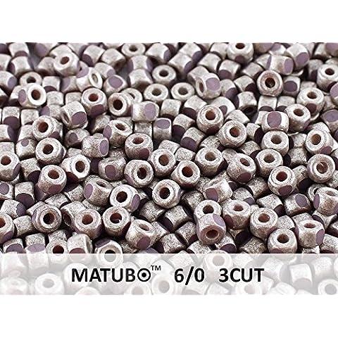 10gr 6/0 MATUBO 3CUT - Ceco Perle pressate di vetro, del taglio di macchina, Purple Violet Old Silver Matte